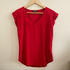 Express Red V Neck Short Sleeve XS Shirt